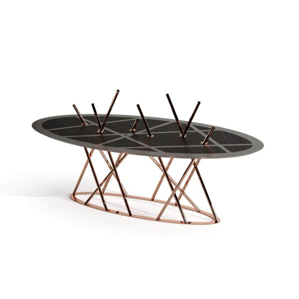 Black Oak Copper Dining Table Mikado Collection Emotional Objects